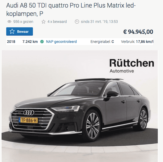 Audi A8 Afschrijving