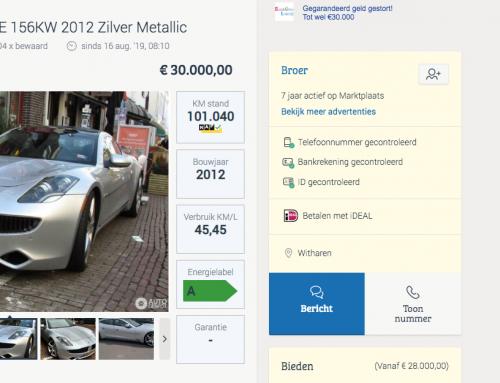 Dream or donate eigenaar zet zijn Fisker Karma te koop!